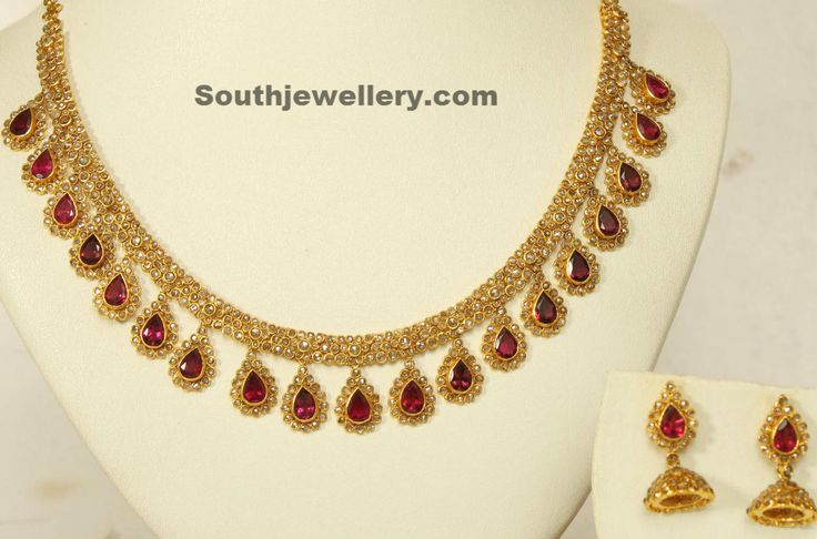 Uncut Diamond Ruby Necklace -- polki