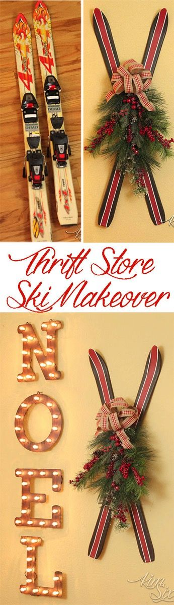 How to transform old fiberglass thrift store skis into gorgeous rustic vintage Christmas decor. It is quick and easy!