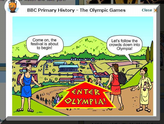 Visit the Greek Olympic Games from BBC Primary History for Kids.  This an interactive and creative website that kids will enjoy!