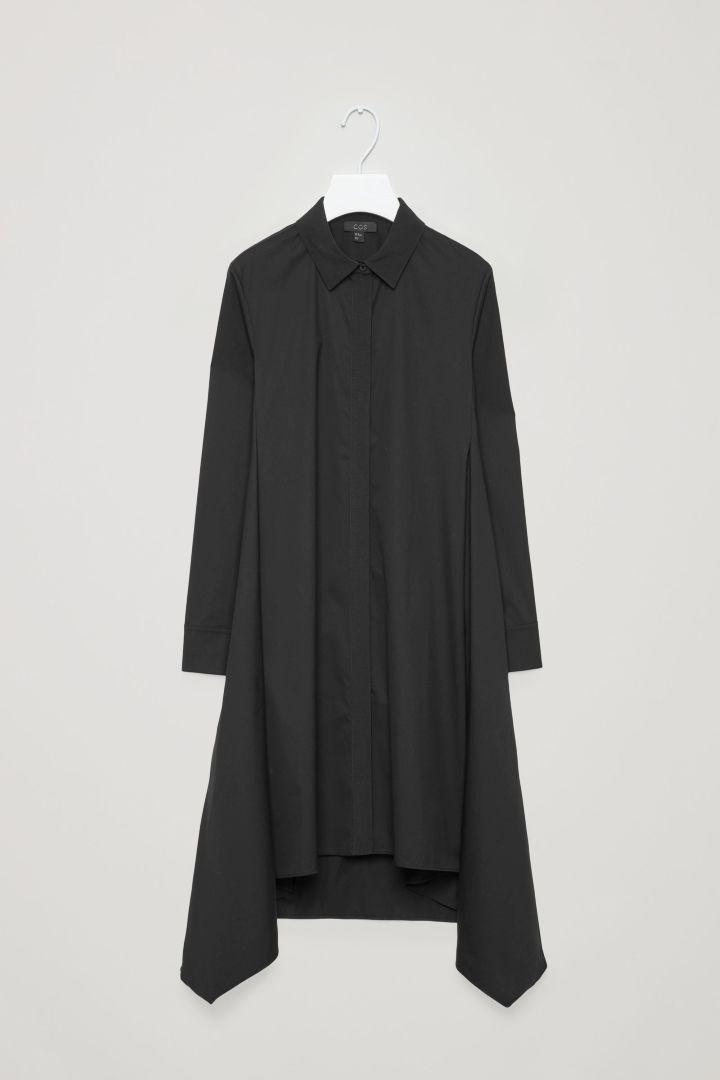 b6ae94ab6eeb COS image 4 of Shirt dress with handkerchief hem in Black