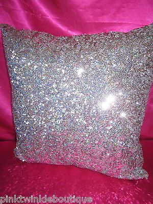 New Victoriau0027s Secret Silver Leopard Sequin Bling Bedroom Bed Pillow PiNK