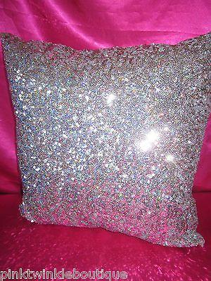 New Victoria's Secret Silver Leopard Sequin Bling Bedroom Bed Pillow PiNK