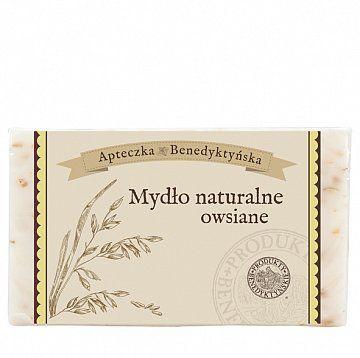 MYDŁO NATURALNE OWSIANE 130 G - Produkty Benedyktyńskie    Mydło naturalne owsiane produkowane jest z naturalnych olejów roślinnych. Używane do skóry suchej nawilży ją, odżywi i zmiękczy. Natomiast mydło naturalne owsiane...