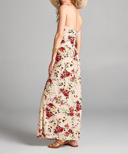 Love, Kuza Berry & Cream Strapless Maxi Dress | zulily