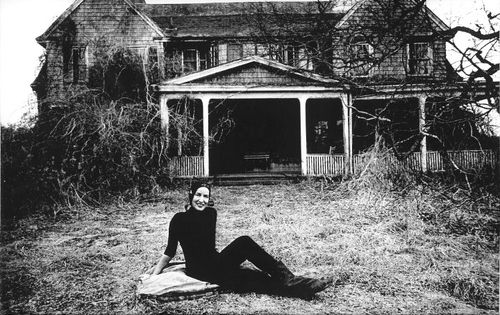 """The last time I saw Little Edie was the week before Christmas, when she invited us out to take pictures. Prepared as though for her stage debut, garbed in black net and flashy reds and heavily perfumed, she swept out the door in grand theatrical fashion.""  -Gail Sheehy, ""The Secret of Grey Gardens""."