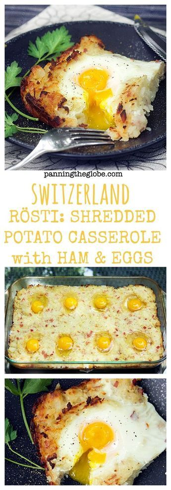 SWISS RÖSTI: Shredded Potato Casserole with Ham and Eggs. The perfect brunch dish. Serve with salad or asparagus.