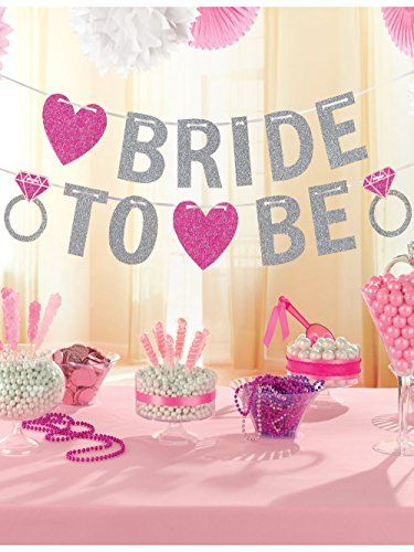 amscan 35 m hen party bride to be glitter banner https