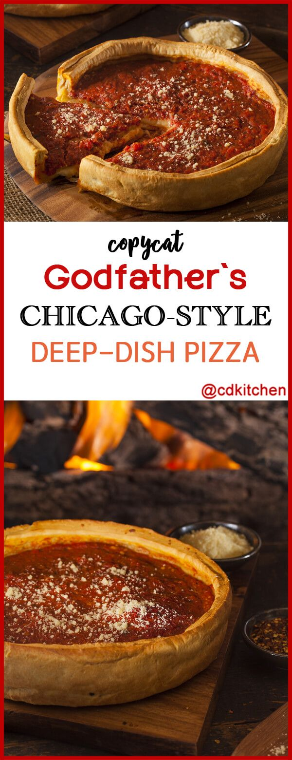 Copycat Godfather's Chicago-Style Deep-Dish Pizza - Chicago has great pizza and baseball. Bring the city's famous deep dish pie right to your table. A crispy crust, melted mozzarella and tangy tomato sauce is guaranteed to knock this one out of the park.   CDKitchen.com