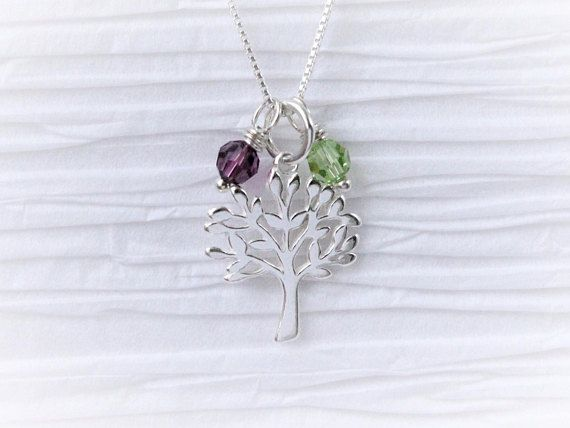 #treeoflife necklace with Swarovski birthstones 925 sterling