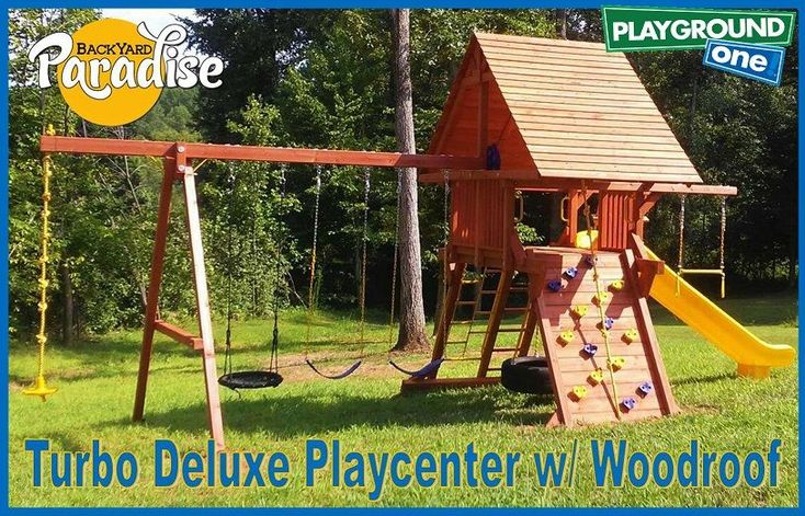 This Turbo Deluxe Playcenter with Wood Roof shines in this ...