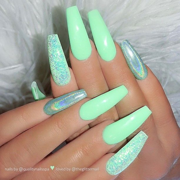 Theglitternail Get Inspired On Instagram Mint Green Holo Effect And Glitter On Long Coffin Nails Coffin Nails Long Nail Designs Coffin Nails Designs
