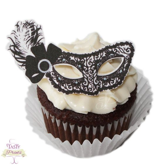 12 Edible Decorations - Masquerade Food Decorations -Black White Masquerade Mask Cupcake Topper on Etsy, $10.99