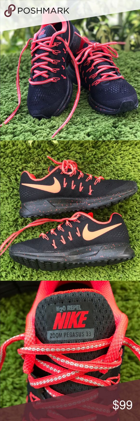 NWT Nike ID Zoom Pegasus 33 W, size 6,5 Brand new, no box. Price is firm. No trades. Upper: Engineered mesh with inner sleeve, Flywire cord based lacing. Midsole: Compression molded EVA foam, heel and forefoot Zoom Air bags. Outsole:Hard-wearing carbon rubber throughout. Nike Shoes Sneakers