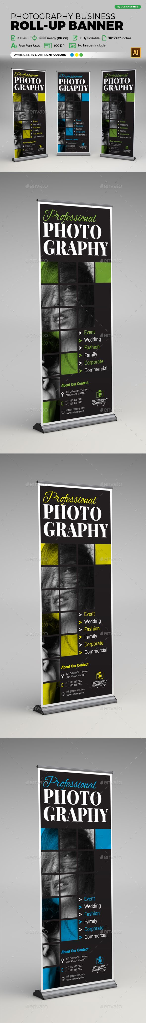 Photography Roll Up Banner by arsalanhanif Corporate Business Roll-up Banner Tem...