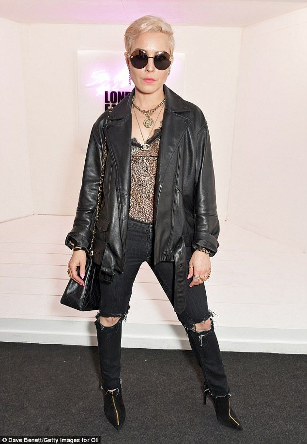 Rock chick! Swedish actress Noomi Rapace, 37, opted for a punk-rock vibe at Men's London Fashion week on Friday - and debuted a new peroxide blonde pixie crop