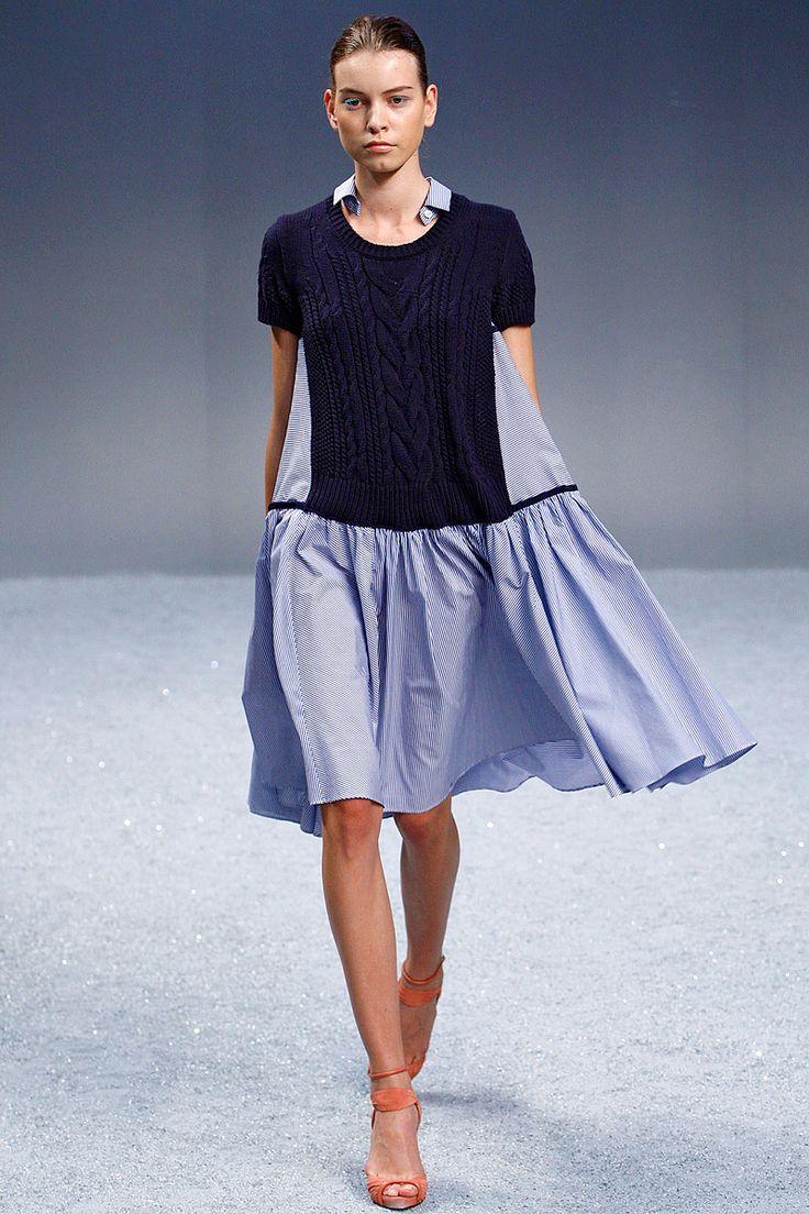 cable knit + poplin dress--sacai