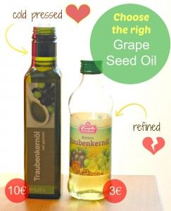 Use only cold pressed GRAPESEED OIL: it has great regenerative and moisturising properties. It is especially effective in repairing the skin around the eyes and helps to reduce the appearance of stretch marks.