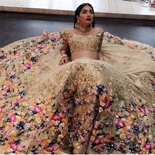 A floral garden by #houseofneetalulla | loving the whimsy in these pieces  #lehenga #gold #floral #bride #brides #indianbride #wedding #weddings #indianwedding #glitter #shimmer #weddingday #floral #flowers #whimsical #dream