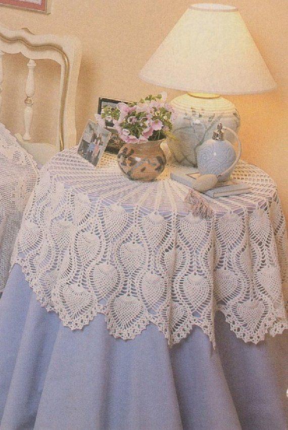 crochet pineapple round 44 tablecloth pattern kc0225 intermediate rh pinterest com