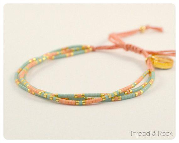 Delica Beaded Thread Bracelet in Sea Green, Salmon & Gold