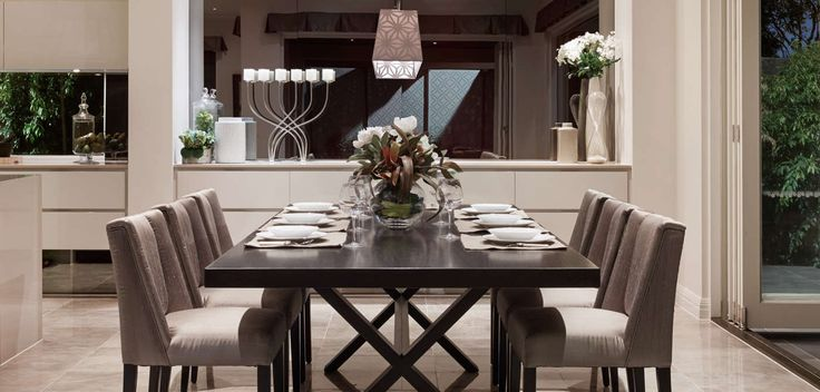 DINING: Oak and walnut timber furniture, balanced by the elegance of mirrored and ornate feature pieces. Visit our Maison Classique Lookbook style here: http://www.metricon.com.au/get-inspired/lookbook/maison-classique