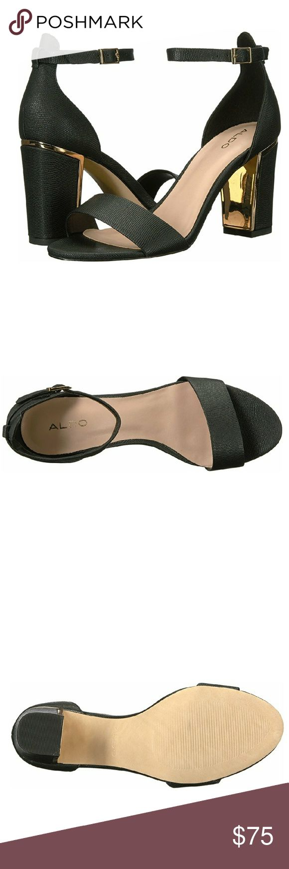 """👠NEW👠🍁Aldo Onley Black Synthetic🍁 👠True To Size 👠 - Faux Leather - Imported - Heel measures approximately 3.25 inches"""" - Add some elegant flair to your look in these fabulous ALDO® dress sandals. - Faux-leather upper with an adjustable ankle strap buckle. - Man-made lining and lightly cushioned footbed.Stable chunk heel and flexible man-made outsole.Imported.  - Measurements: Heel Height: 3 1⁄4 Aldo Shoes Heels"""