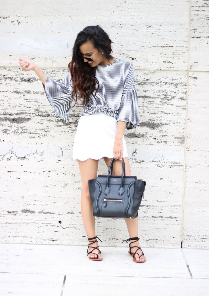 Bell sleeve top and scalloped hem skirt