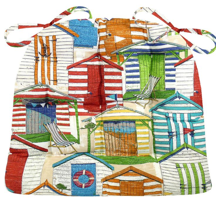 Beach Huts Multi patio chair cushions and dining chair pads feature a collection of Atlantic Beach style cabana houses in fun colors such as red, teal, and lime. #beach #sand