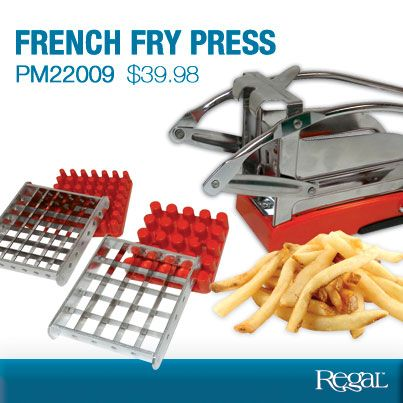 "FRENCH FRY PRESS - It's so easy to turn whole potatoes into ready-to-bake French fries! Deluxe potato press has two stainless steel cutting grids that easily make 25 French fries or 49 julienned vegetables with a single push of the lever. Strong suction base holds it in place. (10""L x 3-1/2""W x 5""H) Product Number PM22009 www.davesgift.shopregal.ca"