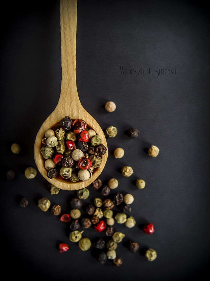 wood spoon with multi-colored peppercorns #photography