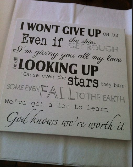 Hey, I found this really awesome Etsy listing at http://www.etsy.com/listing/174709497/jason-mraz-i-wont-give-up-song-lyrics-on