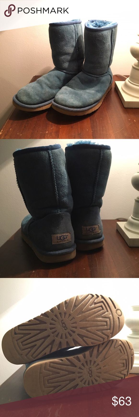 Real UGG Classic Short Boots Classic short teal UGG boots. Worn but in great condition! I love these boots, I just need to make room in my closet! UGG Shoes Winter & Rain Boots