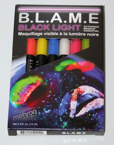 Mehron Blame Black Light Cream Makeup FX Face Paint Pen Hair UV Pro Size Neon | eBay