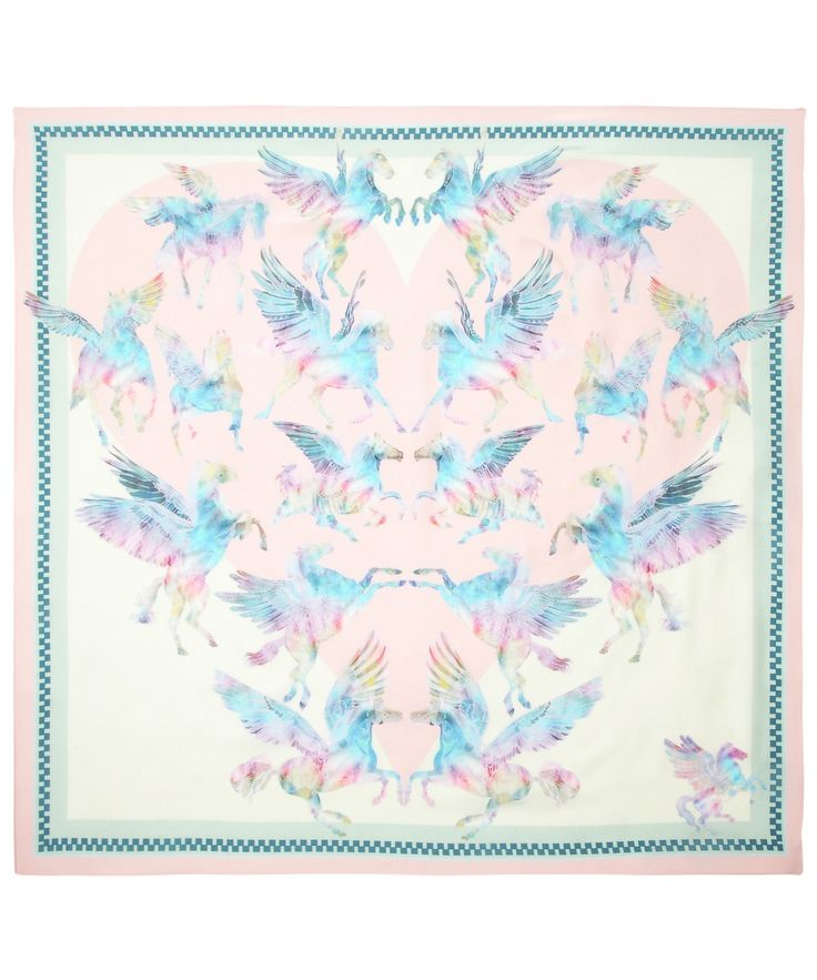 100% SILK SCARF DIMENSIONS - 90X90CM A beautiful heart shaped design of illustrated and mirrored tie dye Pegaus in pastel tones. Hand drawn with lo...