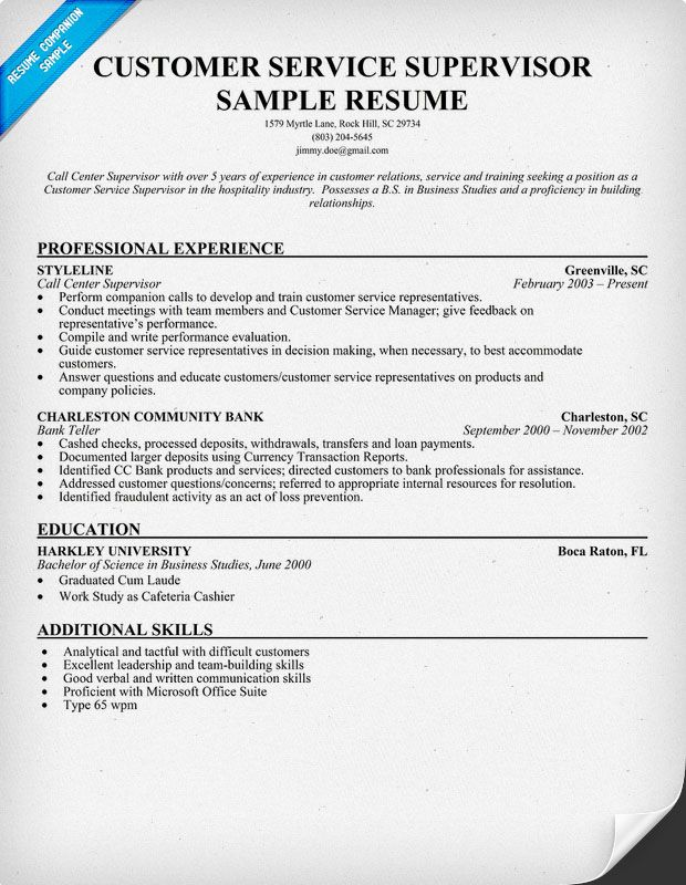 Customer Service #Supervisor Resume Sample (resumecompanion - resume skills and qualifications examples