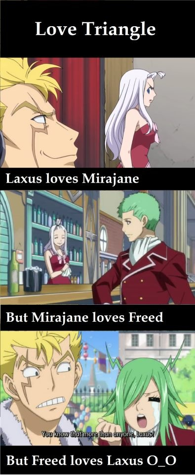 Funny, but I think It's more like Laxus loves Mirajane who returns the affections and Freed is just gay.