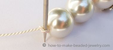 How to knot pearls or restring pearls; recommendations for size of silk string to use.