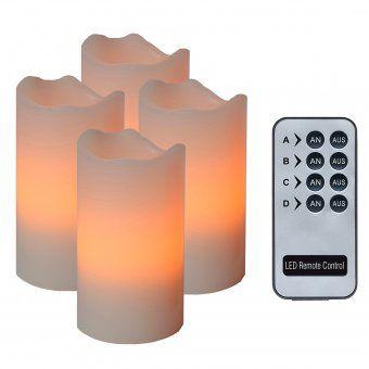 LED-Echtwachskerzen 4er Set mit Fernbedienung elfenbein