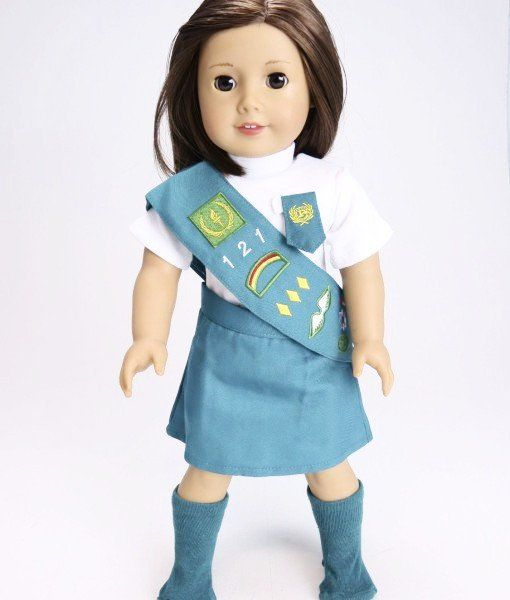 Junior Scout Uniform - clothes for American Girl® and other 18 inch dolls - girl scouts, sash, badges, socks, green