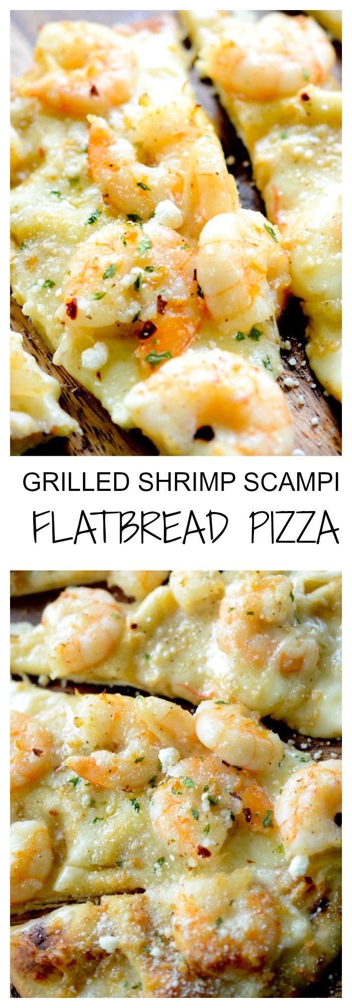 Grilled Shrimp Scampi Flatbread Pizza - Recipe Diaries