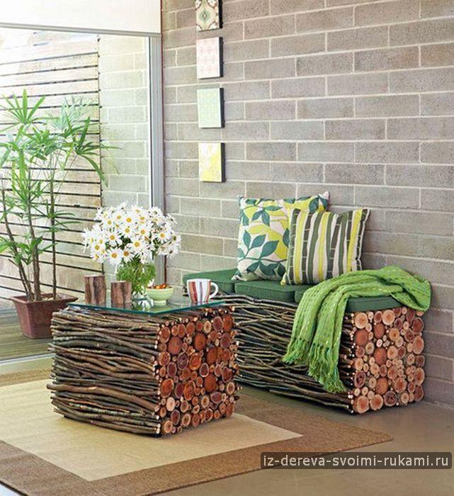 Интересная мебель из веток, фанеры и спилов   Из дерева своими руками: поделки, мебель, мастер-классы