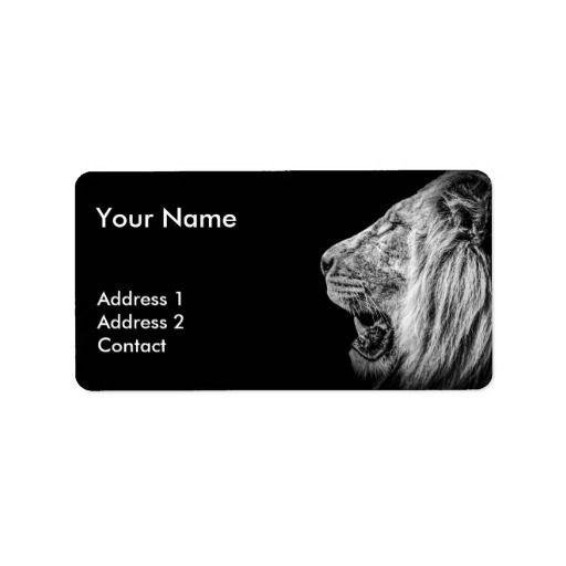 Lion Portrait in Black and White Label   #lion #portrait #blackandwhite #white #label #adresslabel #office #adress #zazzle #animals #valentine #giftsforvalentine