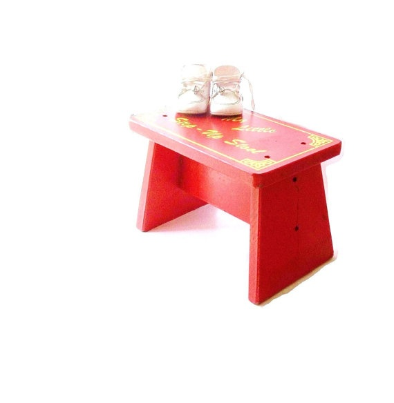 Vintage Wood Stool Step Stool Retro Red Childrens Step