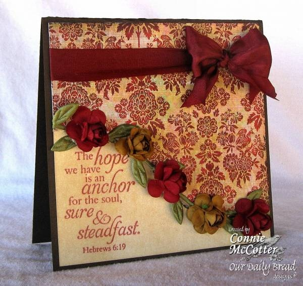 Burgundy & Cream Vintage Card...with ribbon & roses.