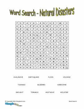 word search-national disasters