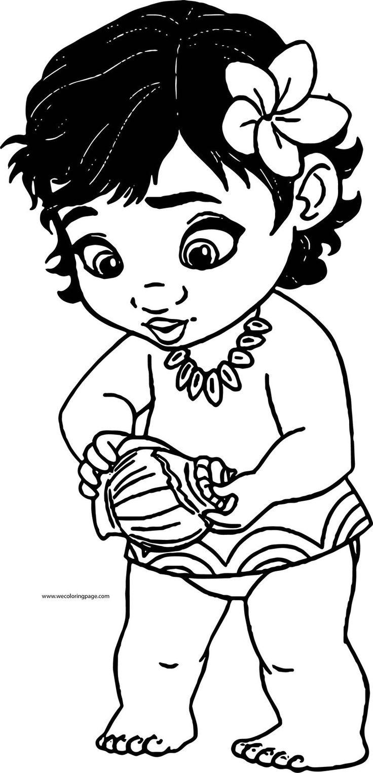 Toddler Moana Kid Girl Coloring Page Moana coloring