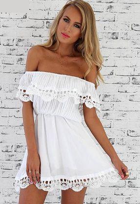 Women's Off Shoulder Strapless Lace Dress