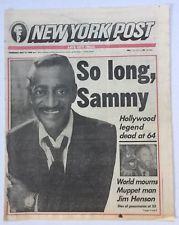 5-17-1990 NEW YORK POST NEWSPAPER HOLLYWOOD LEGEND SAMMY DAVIS JR DEAD AT 64