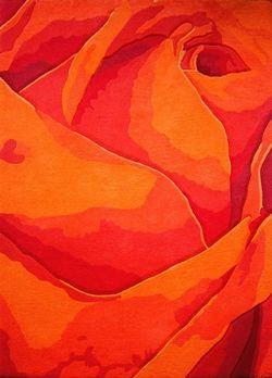 Tapis fait main, hand tuft de luxe 100% laine, collection Floral Fantasy dessin RR-04-03 Red