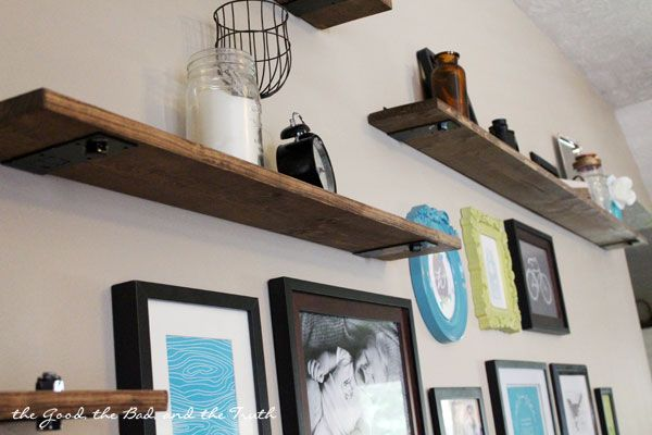 DIY Rustic Industrial Shelves | living room, gallery wall, shelves, shelf, tutorial, diy, rustic, country, industrial, large wall, tv, television